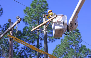 Lineman working on a pole